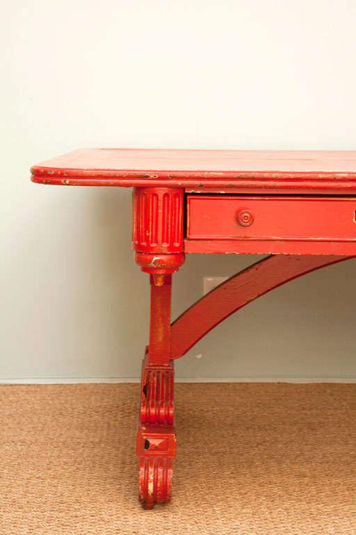 Vintage Red Partner Desk For Sale 3