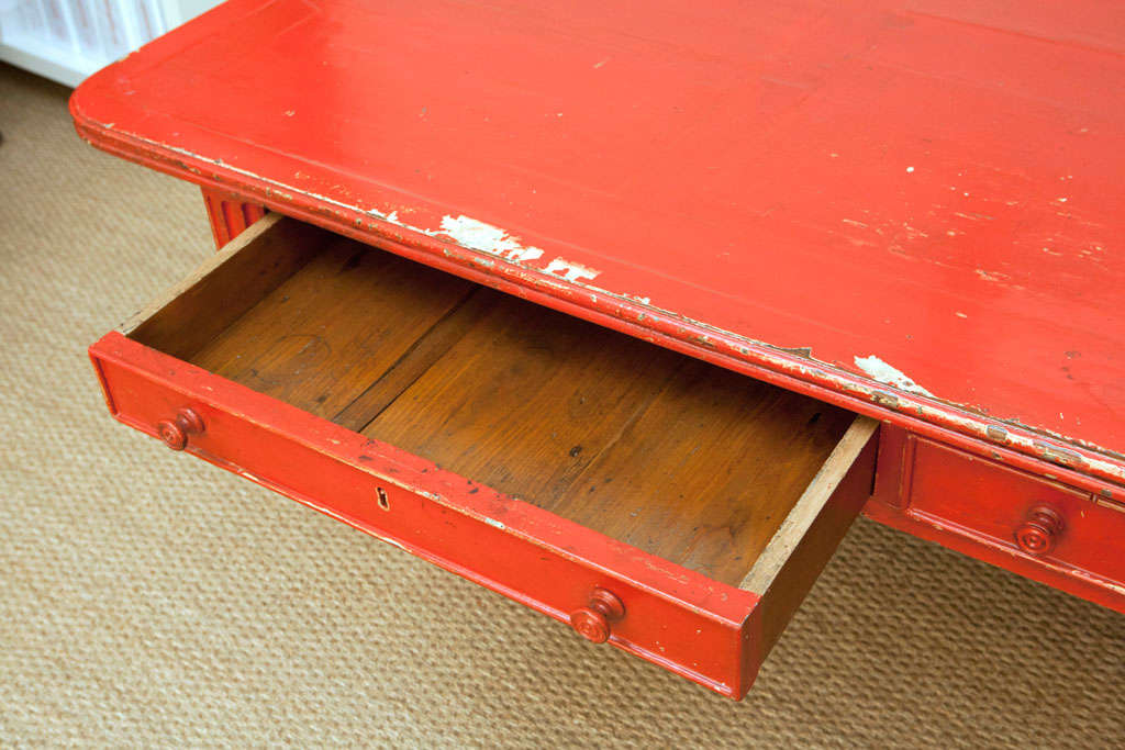 Vintage Red Partner Desk For Sale 4