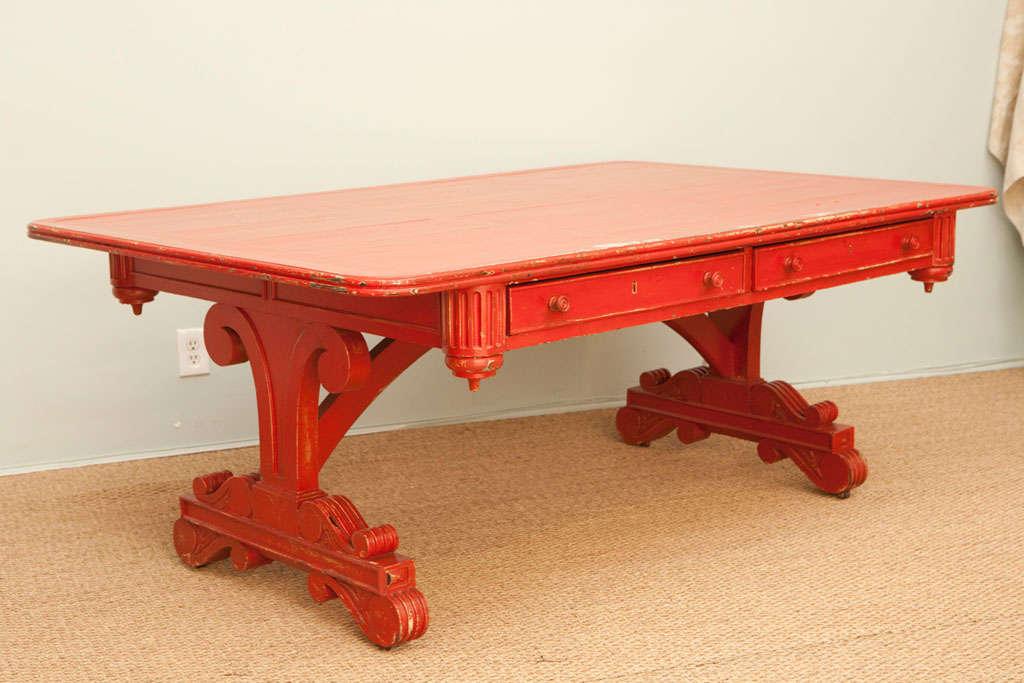 Vintage Red Partner Desk For Sale 5