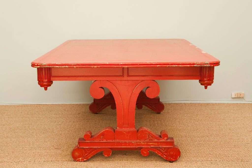 Vintage Red Partner Desk For Sale 6
