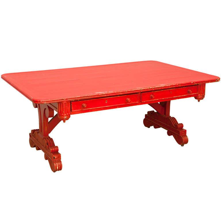 Vintage Red Partner Desk For Sale