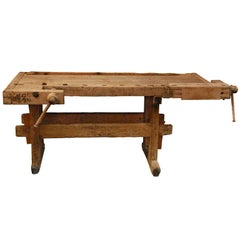 19th Century Antique English Wood Worker's Bench as Side Table or Console