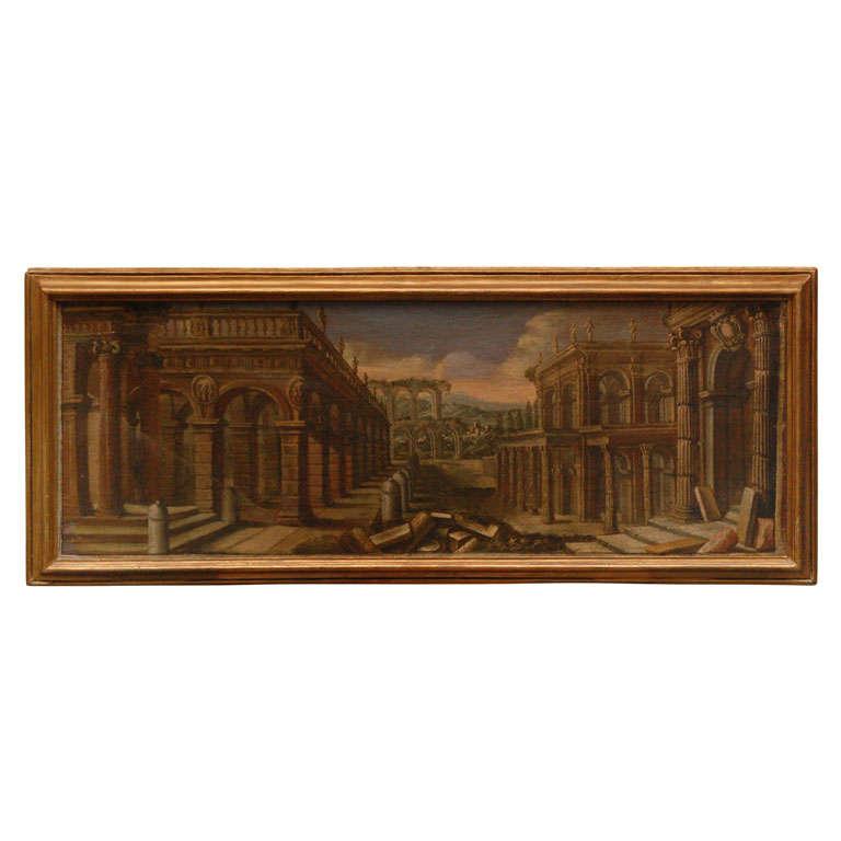 18th Century Oil on Canvas Italian Capriccio Painting of Architectural Ruins