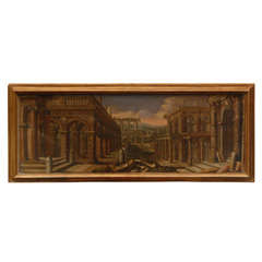 18th Century Oil on Canvas Italian Capriccio Painting of Architectural Ruins