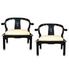 Pair of Hollywood Regency Armchairs in the Style of James Mont