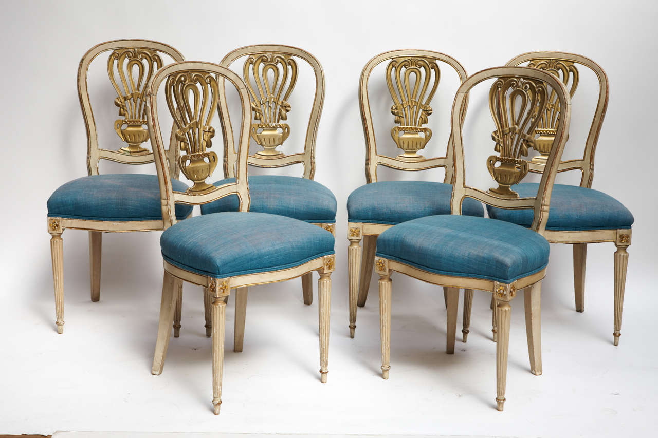 White And Gold Dining Chairs: 1940's Set Of 6 Lacquered Dining Chairs For Sale At 1stdibs
