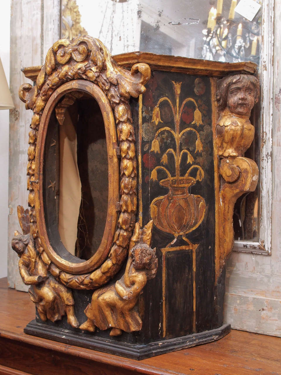 18th century reliquary or altar cabinet at 1stdibs for Altar wall decoration