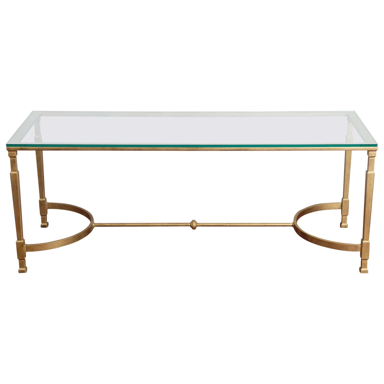20t Century Modern Gold Metal And Glass Coffee Table At