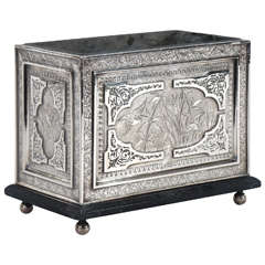 Aesthetic Movement Silver Plate Rectangular Planter with Original Liner