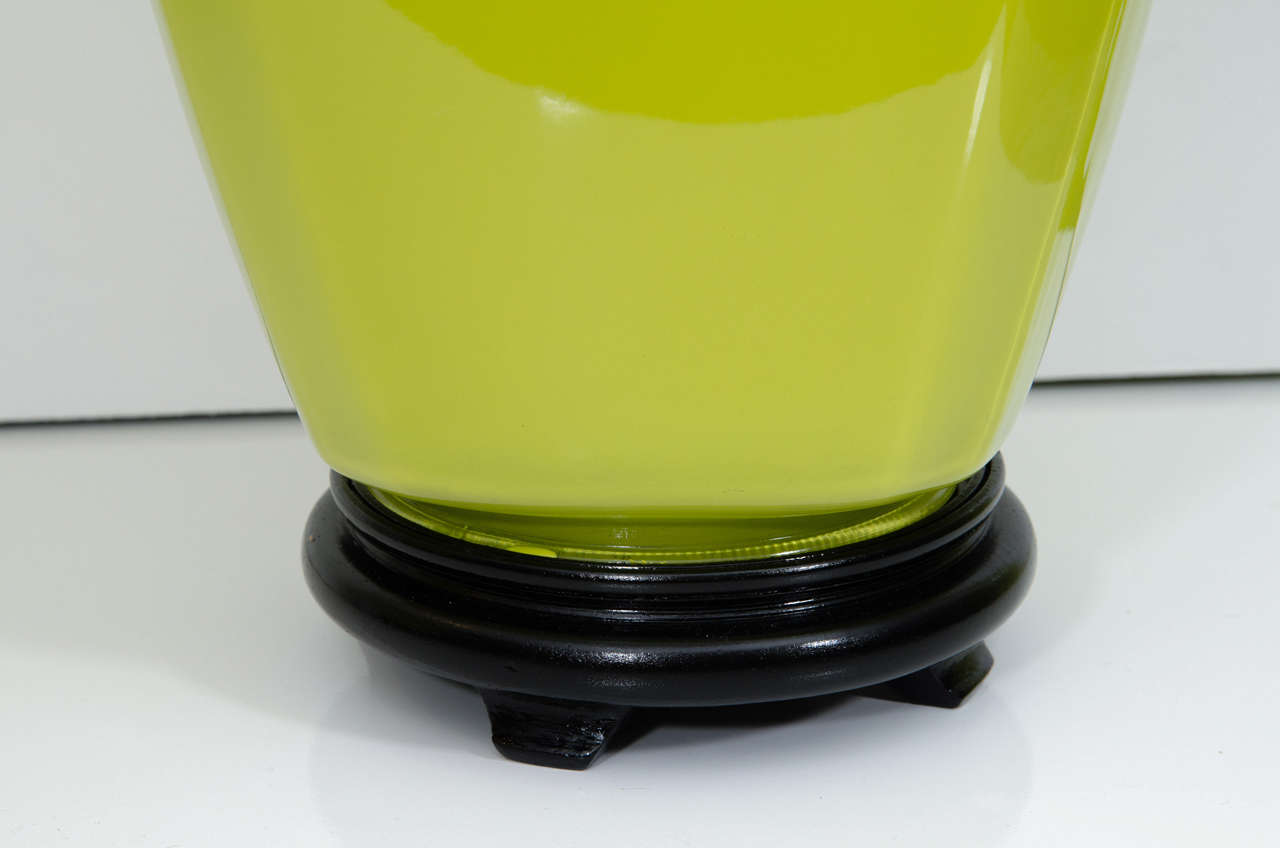 American Pair of Glass Lamps For Sale