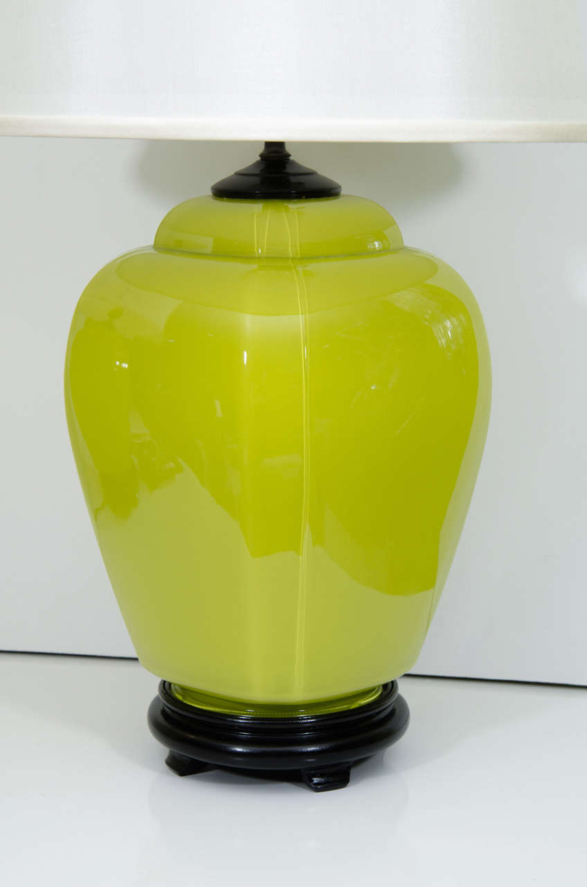 Contemporary Pair of Glass Lamps For Sale