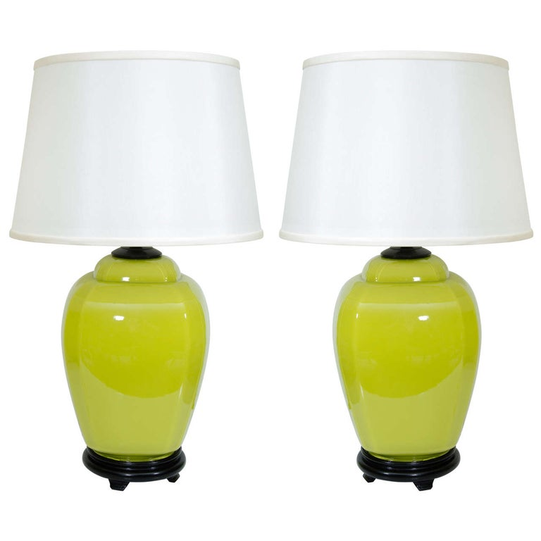 Pair of Glass Lamps For Sale