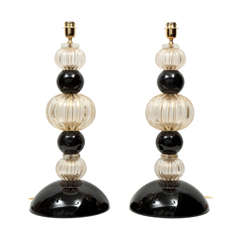 Pair of Handblown, Large Italian Gold and Black Murano Glass Lamps, Signed