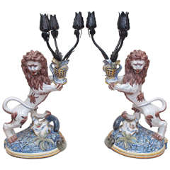 St. Clement Faience Lions with Iron Candle Arms