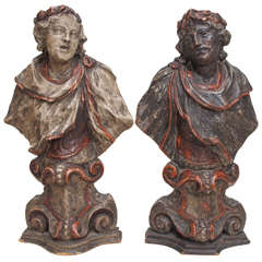 Pair of 17th Century Baroque Busts of Carved Wood and Silver Gilt