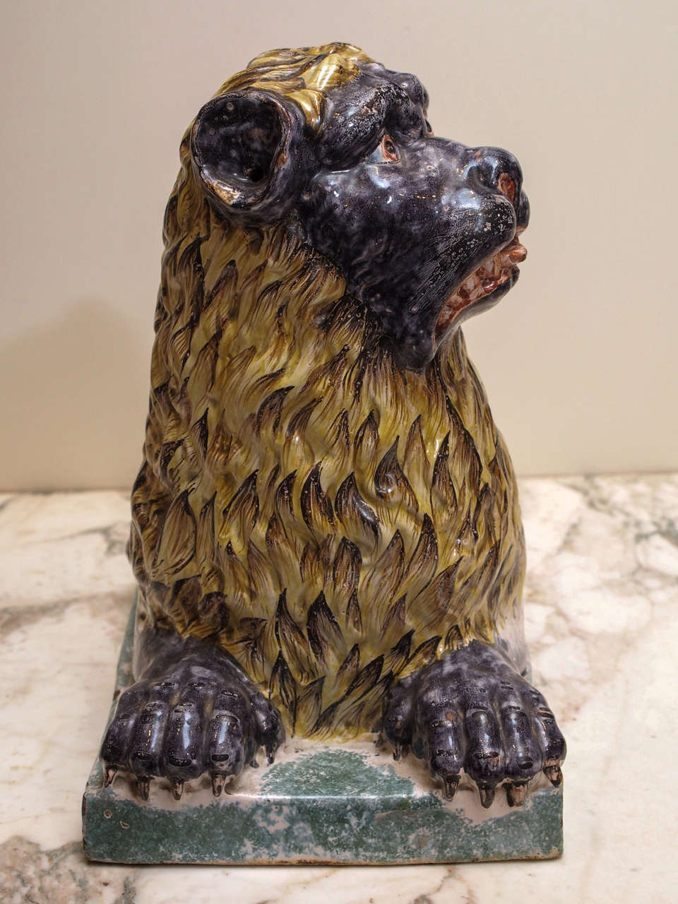 French Luneville Pottery Recumbent Lion At 1stdibs