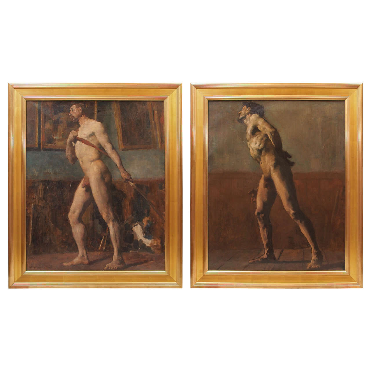 Pair of French Academy Paintings by Didier-Tourne