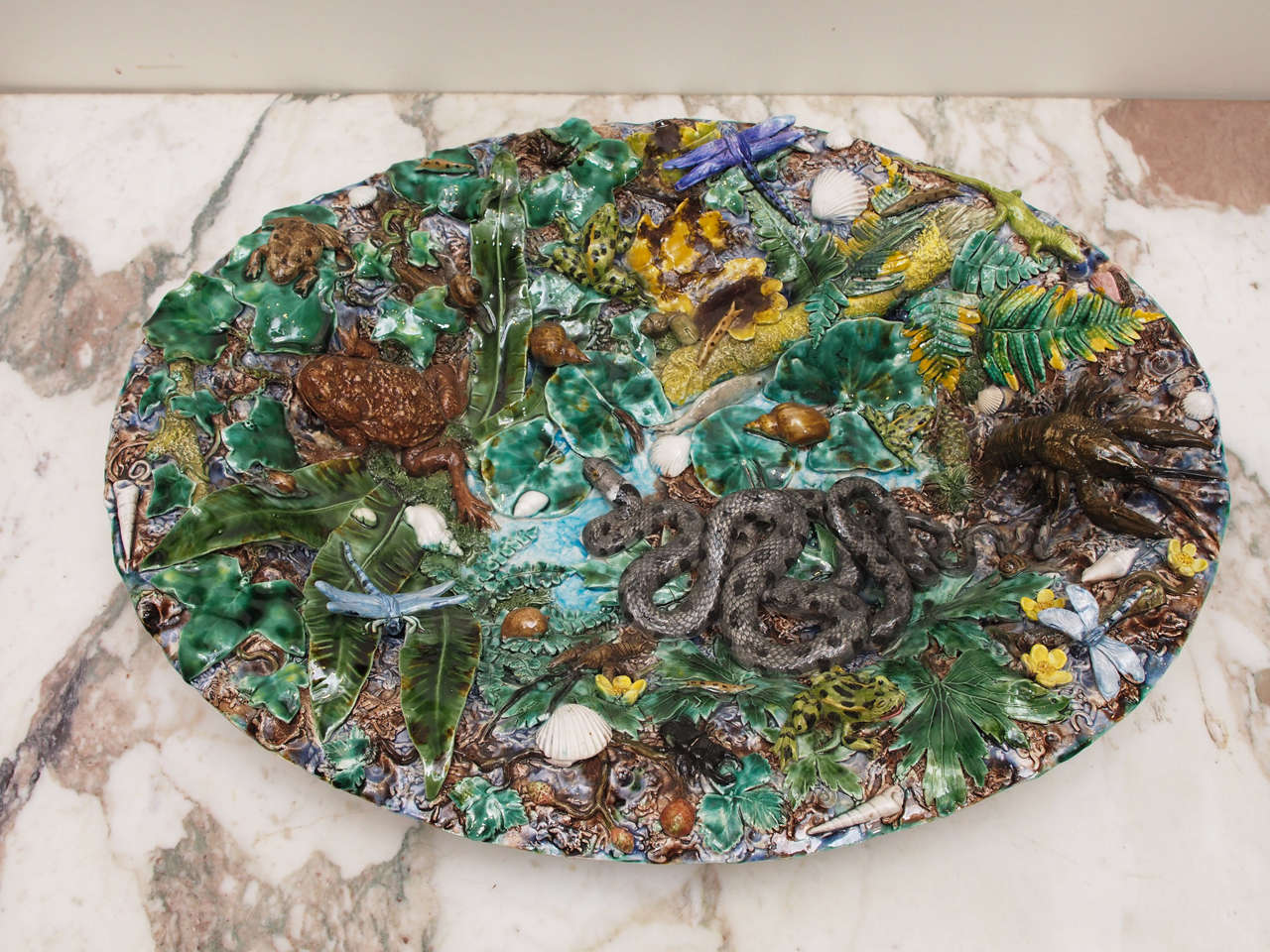 Palissy Style Platter 20th Century For Sale At 1stdibs