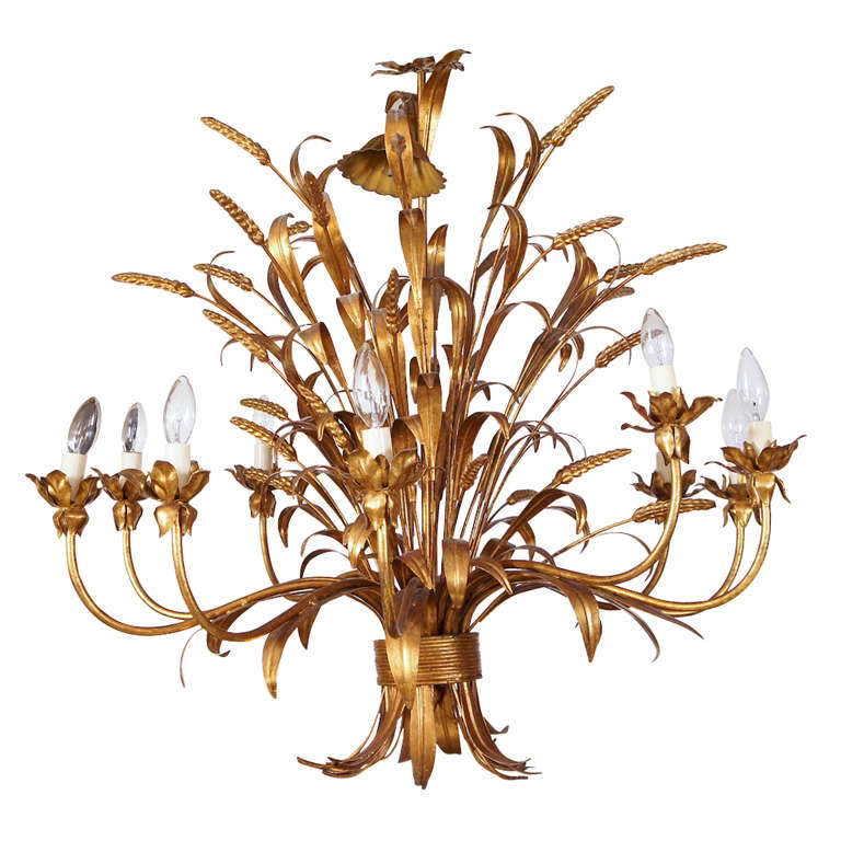Sheaf Of Wheat 10 Light Chandelier At 1stdibs