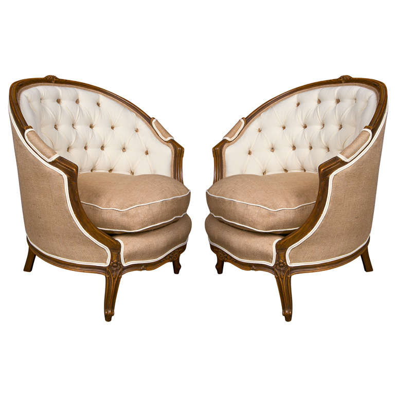 Exceptionnel Pair Of French Louis XIV Style Walnut Bergere Chairs For Sale