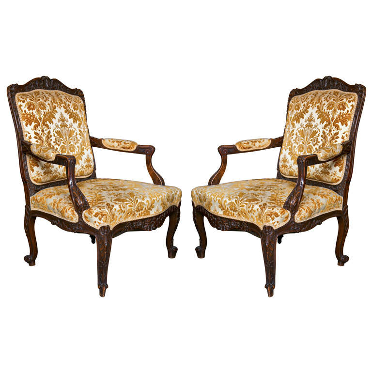 Pair of French Louis XV Style 1930s Walnut Armchairs Embroidered Upholstery