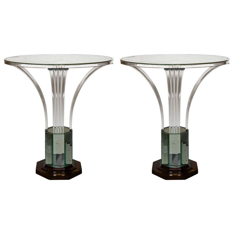 Pair unique art deco style etched and eglomise mirrored - Table de nuit art deco ...