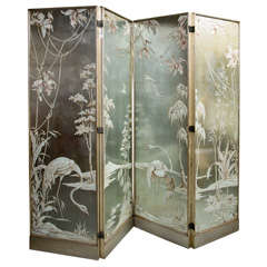 Exceptional Four Panel Etched and Egolmise Mirror Screen