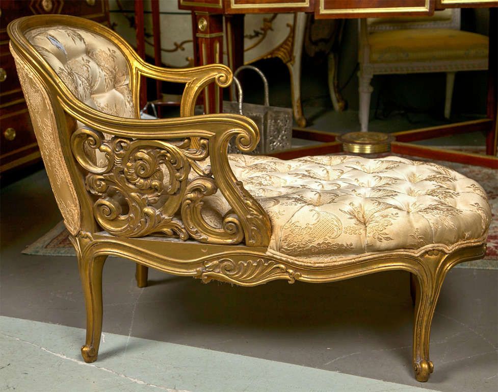 French rococo style gilt recamier at 1stdibs for French rococo fashion