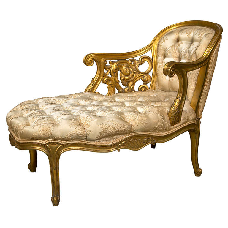 French rococo style gilt recamier at 1stdibs for Antique french chaise lounge