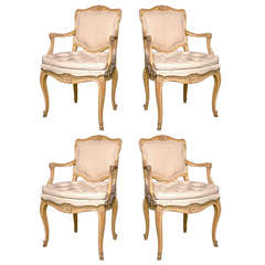 Set of Four French Louis XV Style Armchairs by Jansen