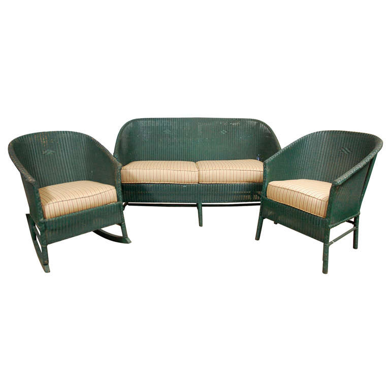 3pc Suite of Wicker Furniture For Sale
