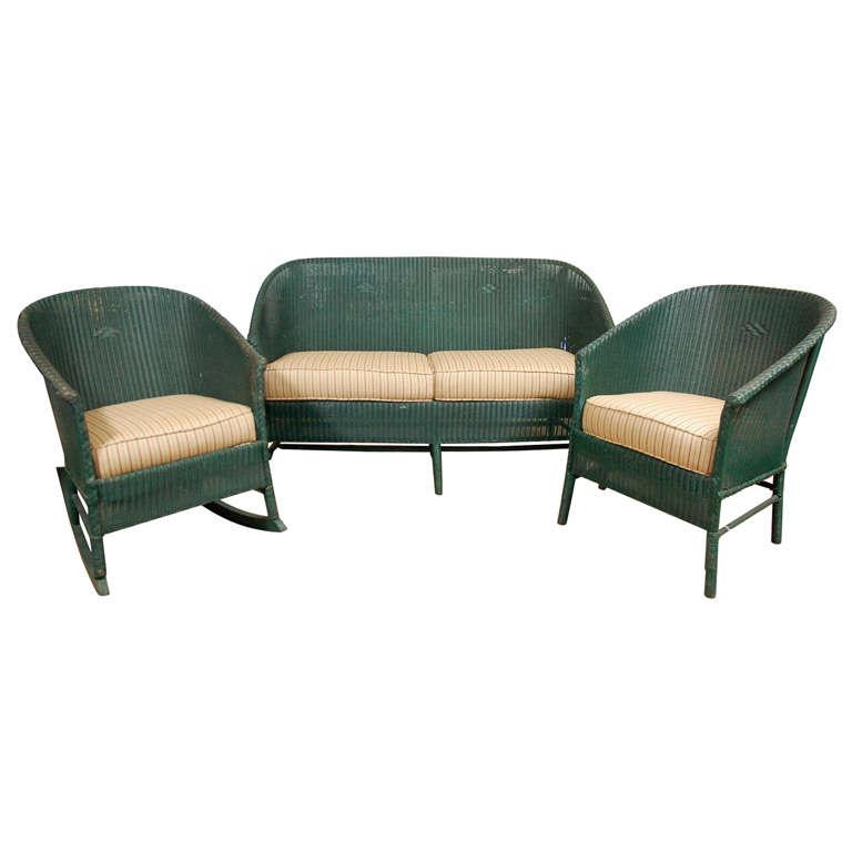 3pc Suite of Wicker Furniture 1