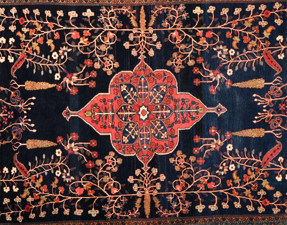 Sarouk Farahan Persian Sarouk Fereghan Carpet with Wool Pile and Vegetal Dyes, circa 1880 For Sale