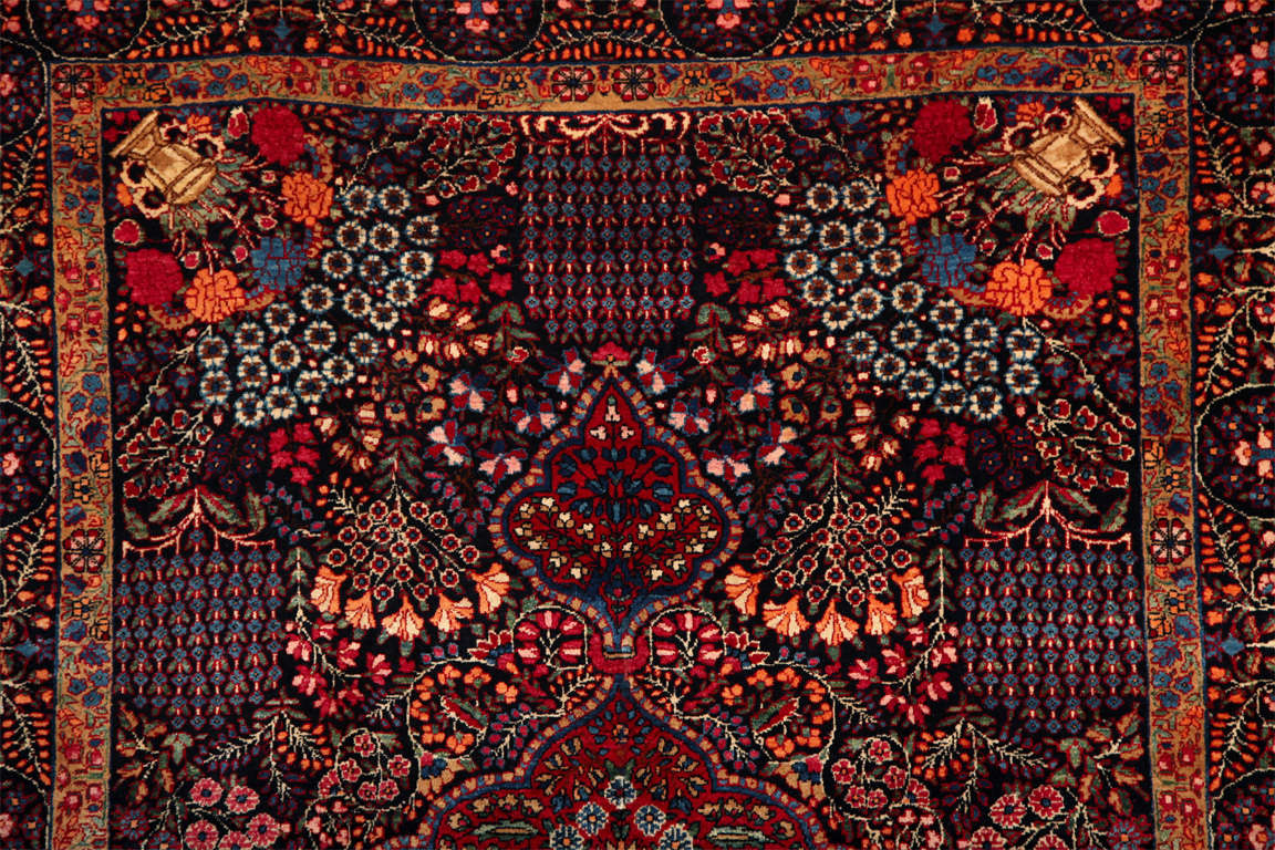 Hand-Knotted Persian Amoghli Carpet with Organic Wool and Dyes, circa 1890 For Sale