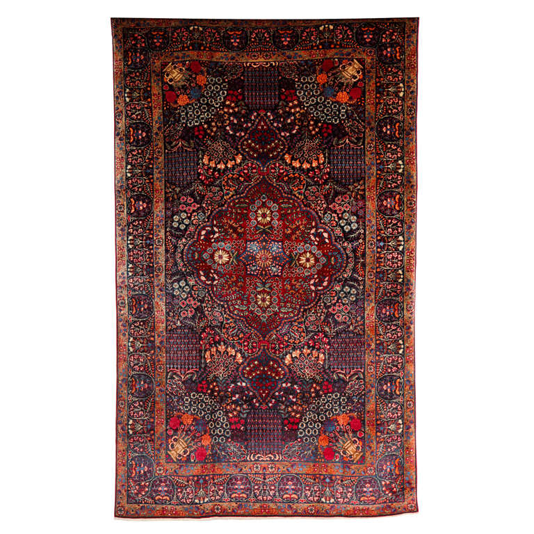 Persian Amoghli Carpet with Organic Wool and Dyes, circa 1890 For Sale