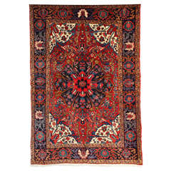 Persian Heriz Carpet with Wool Pile and Vegetal Dyes, circa 1920