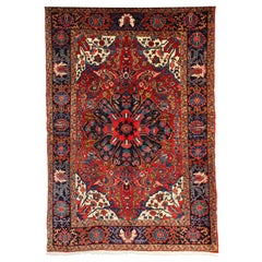 Persian Heriz Carpet with Wool Pile and Vegetable Dyes, circa 1920