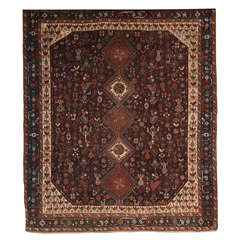 Persian Qashqai Neyriz Carpet circa 1880 with Organic Wool and Dyes