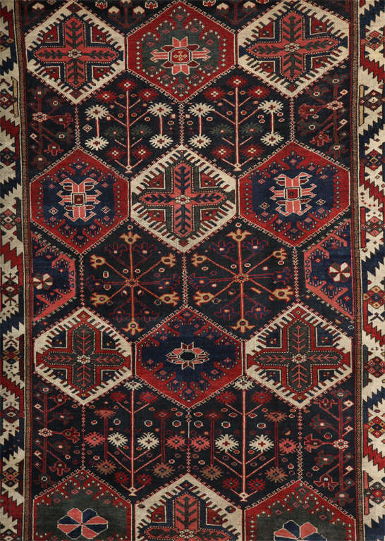 Hand-Knotted Persian Bibibaft Bakhtiari Carpet from Nooch Village, circa 1890 For Sale