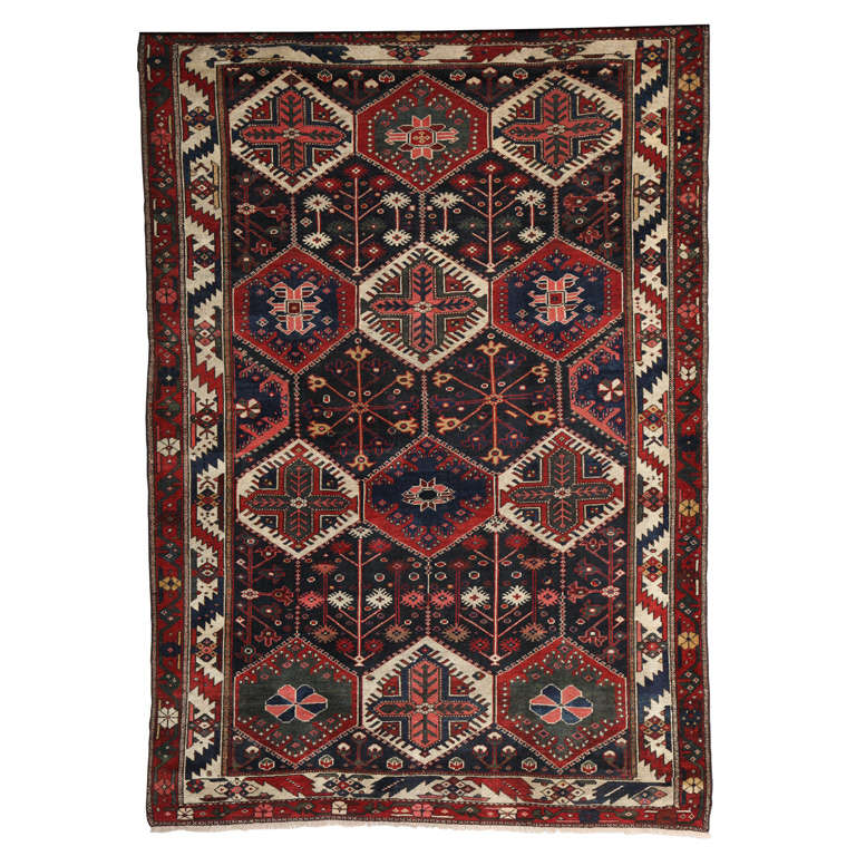 Persian Bibibaft Bakhtiari Carpet from Nooch Village, circa 1890