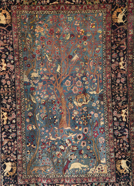 Vegetable Dyed Persian Tehran Tree of Life Carpet with Hunting Scene, circa 1880 For Sale