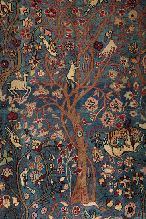 Persian Tehran Tree of Life Carpet with Hunting Scene, circa 1880 In Excellent Condition For Sale In New York, NY