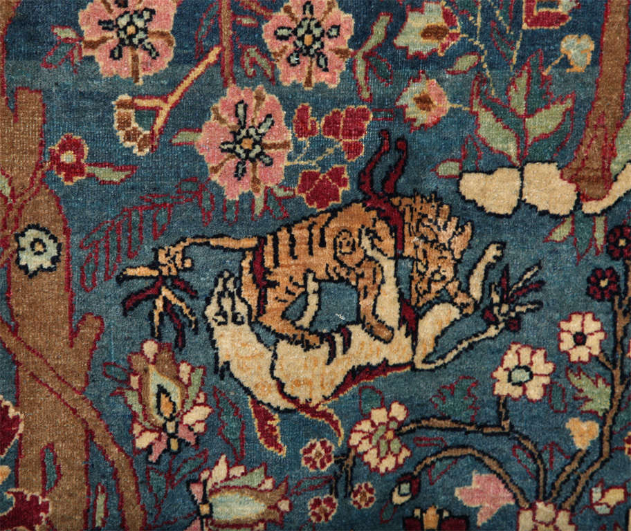 Wool Persian Tehran Tree of Life Carpet with Hunting Scene, circa 1880 For Sale