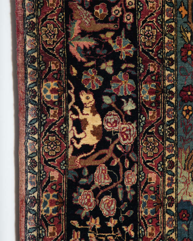 Persian Tehran Tree of Life Carpet with Hunting Scene, circa 1880 For Sale 1