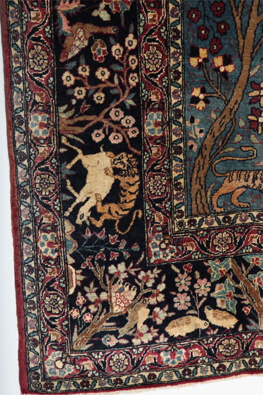 Persian Tehran Tree of Life Carpet with Hunting Scene, circa 1880 For Sale 2