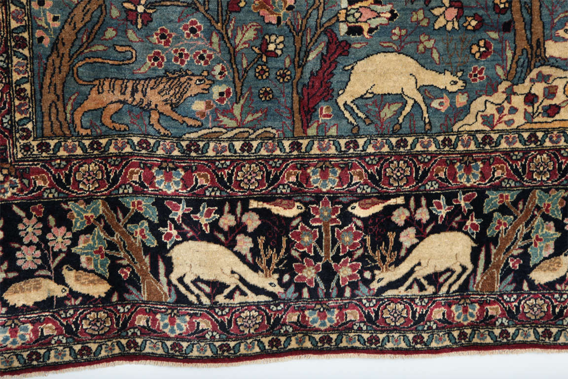 Persian Tehran Tree of Life Carpet with Hunting Scene, circa 1880 For Sale 3