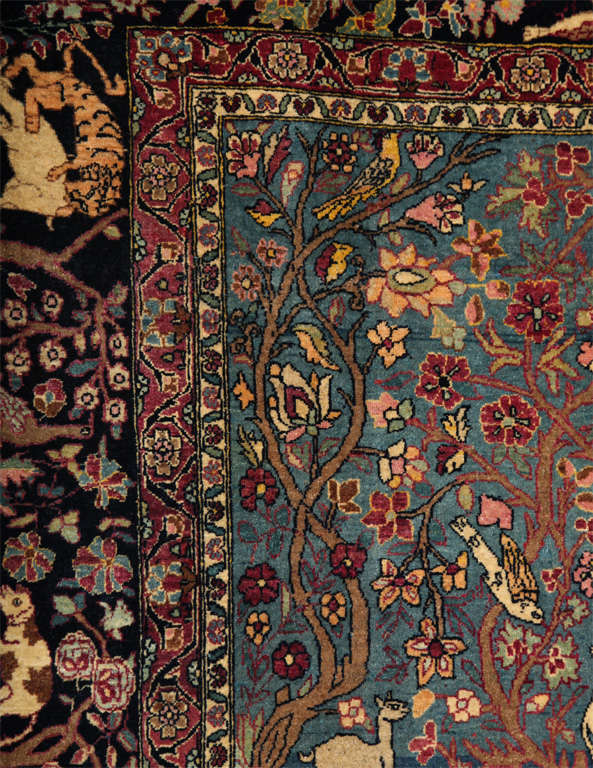 Persian Tehran Tree of Life Carpet with Hunting Scene, circa 1880 For Sale 4