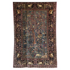 Persian Tehran Tree of Life Carpet with Hunting Scene, circa 1880