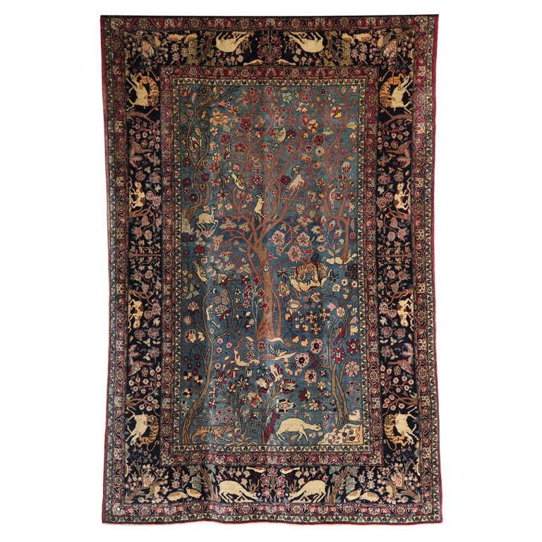 Persian Tehran Tree of Life Carpet with Hunting Scene, circa 1880 For Sale