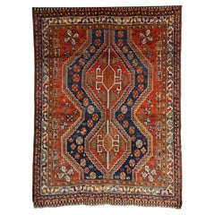 Persian Qashqai Carpet in Pure Wool and Organic Vegetable Dyes, circa 1900